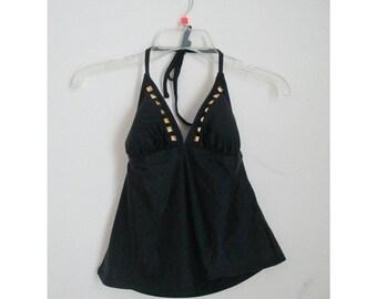 Vintage 1980s 80s Catalina Black Gold Studded Halter Tank Top Tankini Swim Bathing Suit  Swimwear Sz Small 4/6