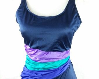 Vintage 1980s 80s Battex Navy Teal Purple Colorblock Low Back Swimsuit Bathing Suit Swimwear Maillot Sz 16/XL Plus Size