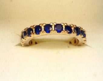 Blue Sapphire Gold Plated Eternity Band Size 8