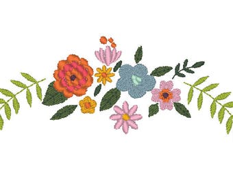 Floral decorated design, Flower machine embroidery design