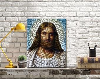 SEVEN WALL ARTS- Modern Canvas Print Jesus Christ Lord Savior Poster Print Artwork Circle Portrait Giclee Print on Canvas