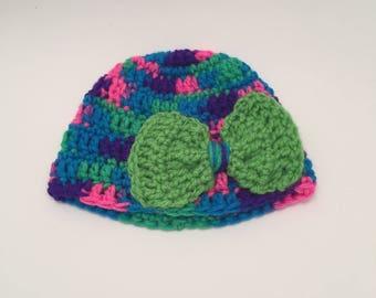 Crochet Baby Hat with Bow, Newborn Girl Hat, Newborn Rainbow Hat, Crochet Baby Girl Hat, Newborn Photo Prop, Crochet Hat, Bright Baby Beanie