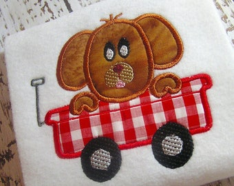 Applique dog machine embroidery instant download design, dog in wagon design, doggie appliqué, dog design, wagon appliqué