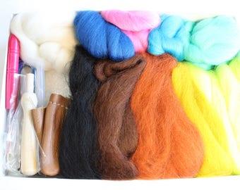 Beginner Felting Kit in Gift Box - 4oz Wool Roving, Felting Needles, Finger Protectors