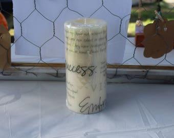 Positive Graffiti Image Transfer on Ivory 3x6 Pillar Candle Vanilla Scented