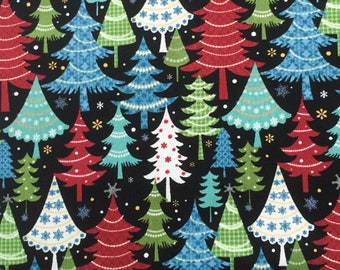 scrub hat pixie style - festive trees
