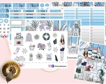 Pretty Winter Girl Erin Condren Planner Kit, Winter Holiday Weekly Kit, Girl Stickers, Scrapbook Sticker, Planner Accessory - 100 Stickers