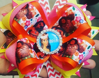 Moana stacked hair bow...boutique style hair bow...Disney hair bow