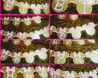 Pink and Gold Minnie Mouse birthday banner...Minnie Mouse banner..disney minnie mouse banner...