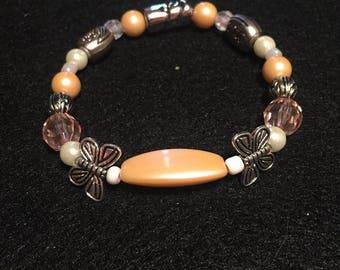 Orange Butterfly Beaded Bracelet
