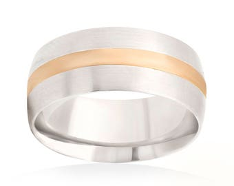 14K White Gold 8mm Comfort-Fit Satin-Finished Yellow Gold Inlay Wedding Band