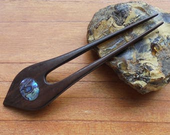2 Prongs Wood Hair Sticks with Paua Shell Inlay, Hair Pin, Wood Hair Fork, Hair Accessories HS24