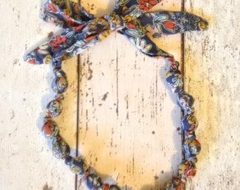 Fabric bead necklace and bracelet set