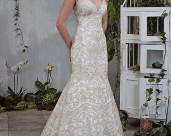 Wedding dress wedding dress bridal gown LIANA + removable page rock 2 pieces mermaid powder ivory Removable side skirt