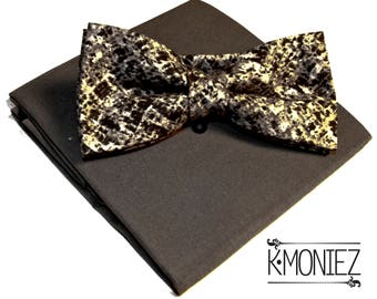 Black and Gray Print Bow Tie and Pocket Square