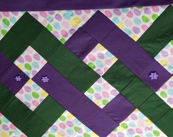 "Quilted Easter Table Runner. Homemade, Deep Purple,Table Decor, Table Topper 13""X37"""