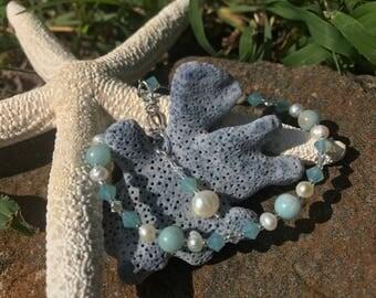Amazonite, Pearl, and Swarovski crystal bracelet