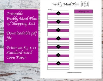 Printable Weekly Meal Plan Template includes Shopping List, Meal Planning