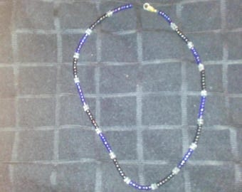 20 inch Blue, Black & Clear necklace