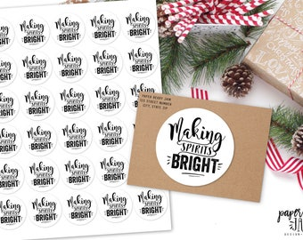 30 Making Spirits Bright Stickers / Christmas Labels / Holiday / 2017 Christmas / Sticker Sheet / gift tags / Merry Christmas