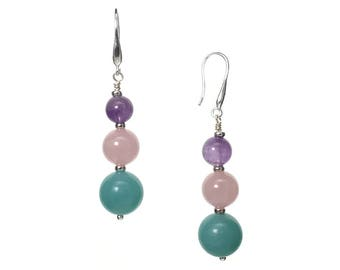 Amazonite, Pink Quartz and Amethyst in Sterling Silver Drop Earrings