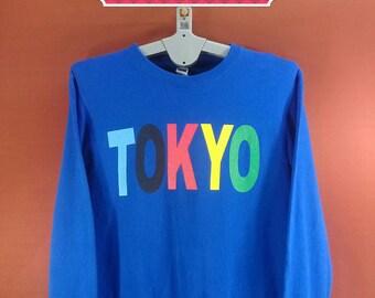 Vintage Tokyo Sweatshirt Jellan Shirts Spellout Sweater Blue Colour Size M Nike Sweatshirts Stussy Sweatshirts Hip Hop Rapper Sweatshirts