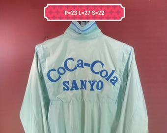 Vintage Coca Cola Jacket Windbreaker Asics Shirt Spellout Cross Sanyo Green Colour Made in Japan Nike Windbreakers Adidas Windbreaker