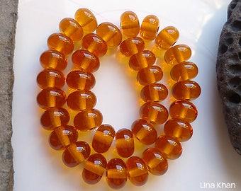 Lina Khan - Lampwork ~ HONEY MOON [36Mini] Handmade Spacer Glass Beads SRA