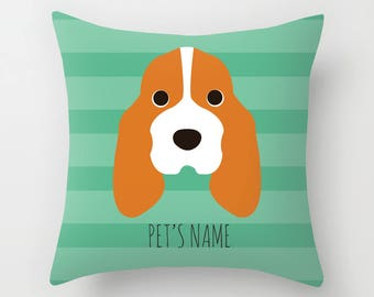 Basset Hound Pillow, Basset Hound Cushion, Decorative Basset Hound Cushion - Dog Pillow, Dog Gift, Custom Dog Name Pillow