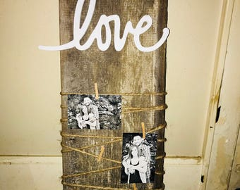Love sign with clips for pictures