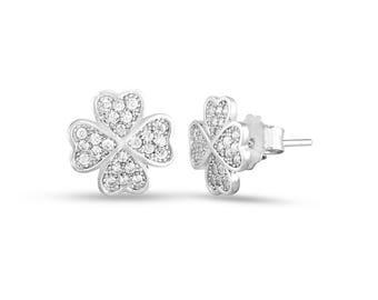 Minimal Floral Ear Studs, Diamond ear studs, Solid white gold earrings