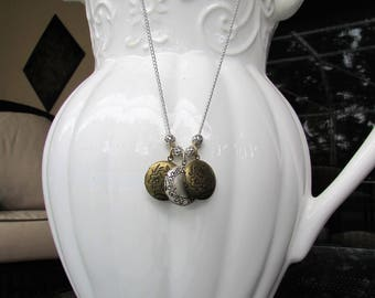 Gold and Silver Locket Charm Necklace, Locket Charms, Silver and Gold Charms, Handmade