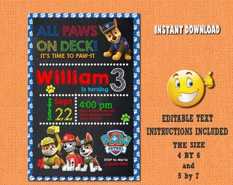 Paw patrol invitation,paw patrol,paw patrol birthday,paw patrol invites,PDF editable invitation,paw patrol party,invitation paw patrol