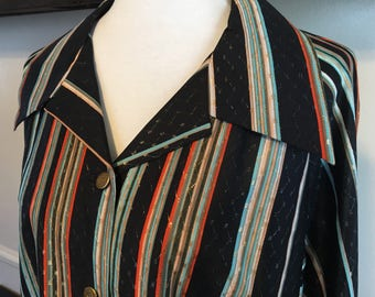 1970's big collar lurex, glitter buttoned disco blouse