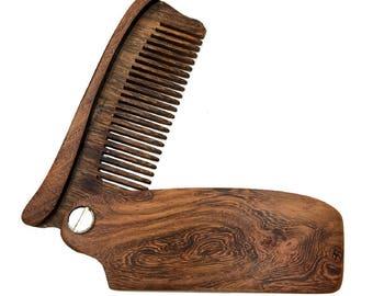 Premium Pocket Sandalwood Beard Comb - Best with Beard Oil