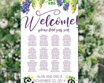 Wedding Seating Chart, Vineyard, Wine, Grapes, Rustic, RUSH ORDER