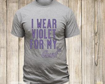 I Wear Violet For My Aunt T-Shirt   Hodgkin's Lymphoma Awareness Tshirt   Violet Ribbon   Cancer   Fighter   Survivor   Personalized Tee