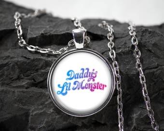 Harley Quinn Glass Pendant Daddys Lil Monster necklace Superhero jewelry photo pendant art pendant photo jewelry glass jewelry