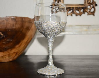Glitter Dipped Wine Glass