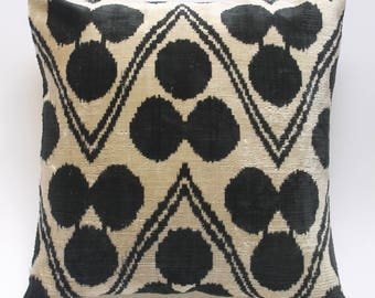 Black and white Silk Velvet Ikat cushion cover