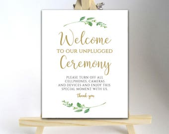 Printable Unplugged Sign Unplugged Ceremony Sign Unplugged Wedding Sign Wedding Unplugged No Cell Phone Sign Welcome Wedding Sign Jasmine