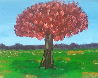 Original Tree Painting in Print! High quality! Colourful, bright, handmade and made to order! Free shipping in UK!