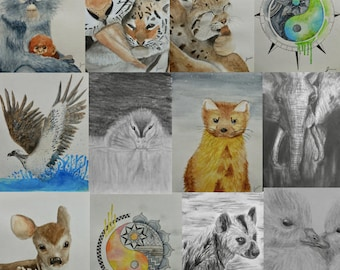 """Watercolor/Graphite/Charcoal Notecard Set of 5 - 5.5""""x4"""""""