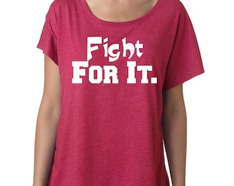 Breast Cancer Fight For It Shirt - Breast Cancer Awareness Shirt - Hot pink , pink ribbon White- GLITTER - sizes small to xxxl - YOU CHOOSE