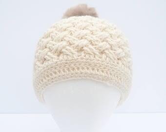 Crochet Celtic Weave Beanie – Natural/champagne Merino Wool