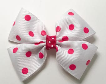 Bright Hot Pink Polka Dot Grosgrain Hair Bow, White Hair Bows with pink polka dots for Women, Ladies. Mermaid charmed hair bows