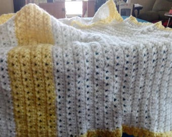 Yellow and White baby blanket or lap afghan.  35X25