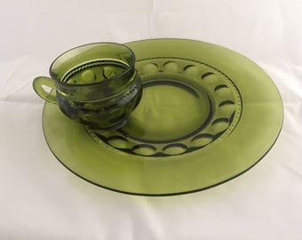 Mid Century Glass Luncheon Plates and Cups