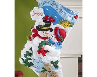 Pre-order 2018 Finished Bucilla Melt Your Heart Christmas stocking