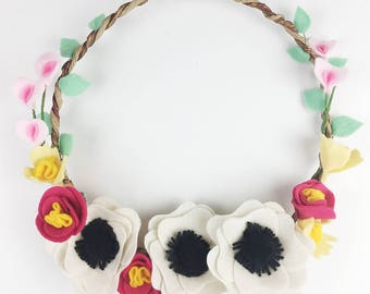 Floral wreath, white anemones with sweet peas and roses